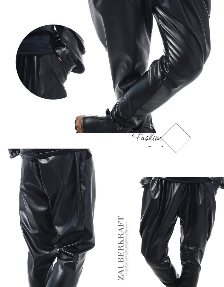 Best version, New Fashion Brand Hip Hop personality Performance sweatpants Male Trousers stage Faux Leather Harem pants 43