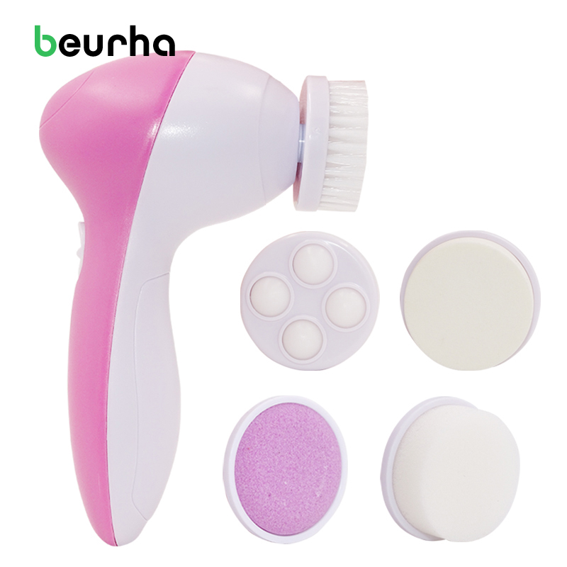 Beurha Deep Clean 5 In 1 Electric Facial Cleaner Face Skin Care Brush Massager Waterproof Spin Body Clean Facial Pore Cleanser 6 in 1 facial massager cleaner w heads deep pink white