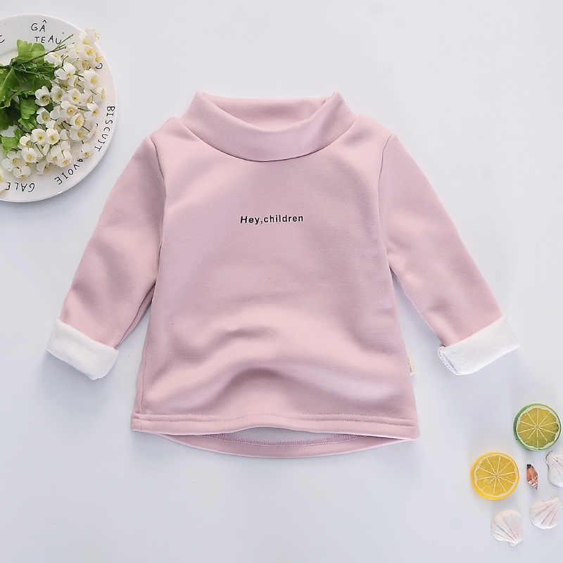 Mannen en vrouwen baby dieptepunt plus fluwelen verdikking herfst en winter nieuwe hoge kraag trui kindje lange mouw baby shirt