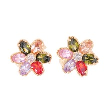 Luxury Colorful Crystal Hoop Earring for Bride Gold Color Flower Shape Earrings for Wedding Party Fashion Jewelry Femme Brinco