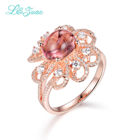 L Zuan Sterling Silver Jewelry Plated Rose Gold Rings 2 6ct Tourmaline Red Stone Prong Setting