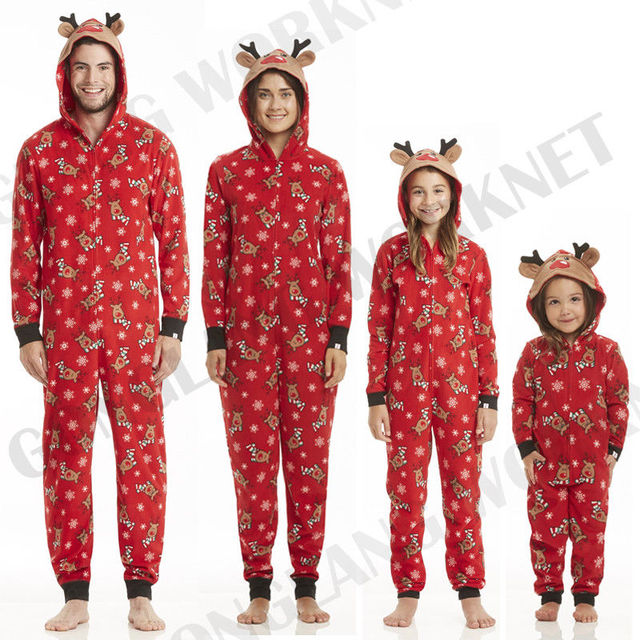 1cc9851e1d Family Matching Christmas Playsuit Mom Dad Kids Deer Floral Nightwear Zip  Playsuit
