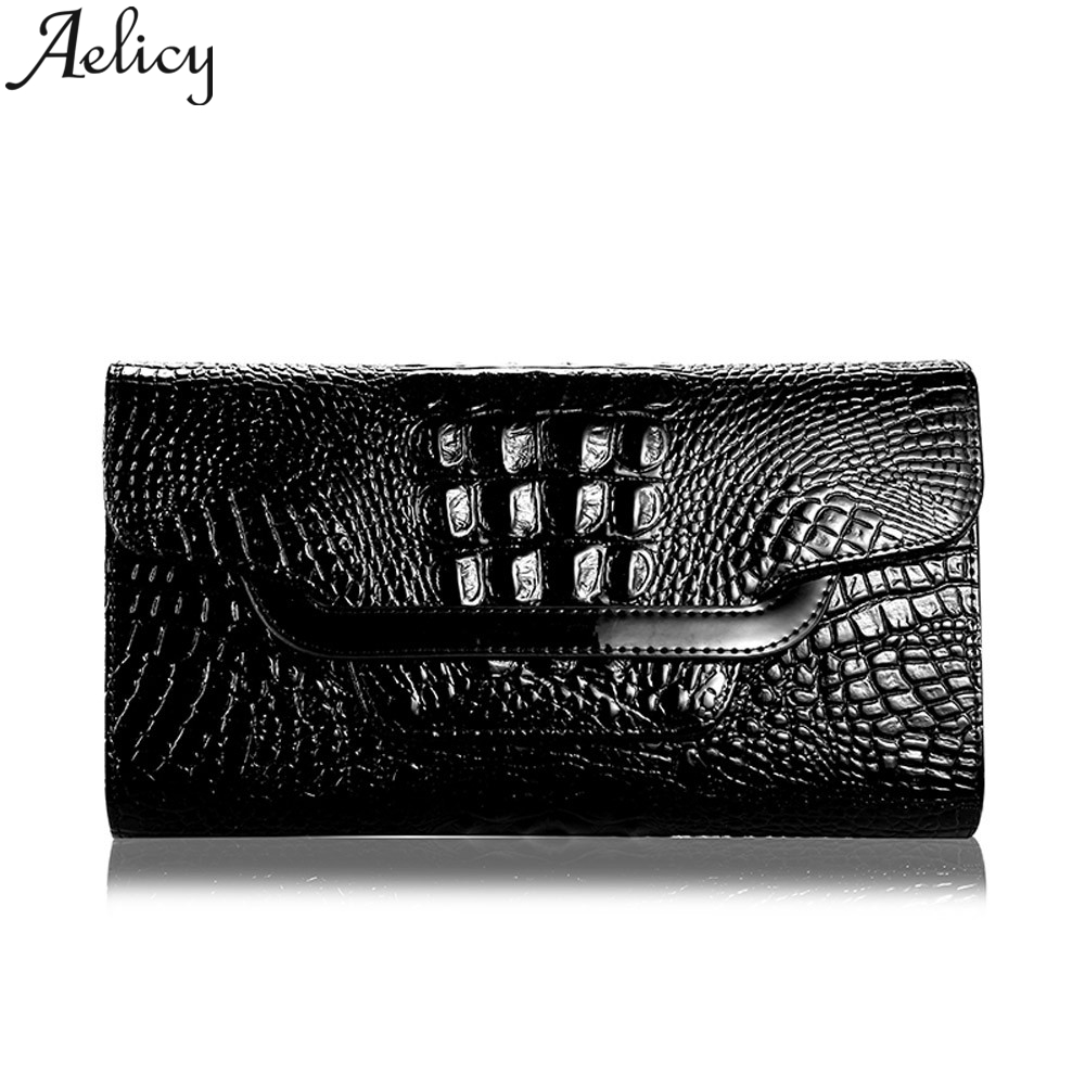 Aelicy Wallet Women Crocodile-Pattern High-Quality Clutch-Bag Small