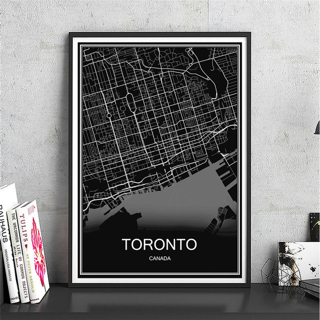 Toronto modern city poster abstract print picture world map oil toronto modern city poster abstract print picture world map oil painting canvas coated paper cafe bar gumiabroncs Choice Image