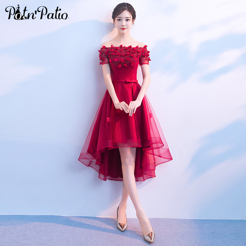 80d61326828ef US $70.8 20% OFF|Red High Low Prom Dresses Sexy Boat Neck Off The Shoulder  Flower Tulle Short Prom Dresses With Sleeves Plus Size-in Prom Dresses from  ...
