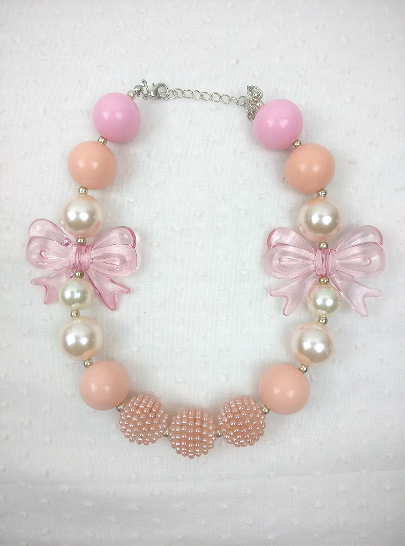 Kids ABS Pearl Colourful Acrylic Beads Bow Chunky Necklace