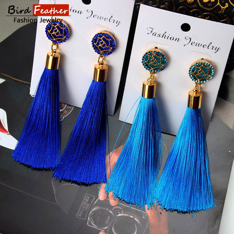 Bohemian Crystal Tassel Earrings Black White Blue Red Pink Silk Fabric Long Drop Dangle Tassel Earrings For Women Jewelry earrings