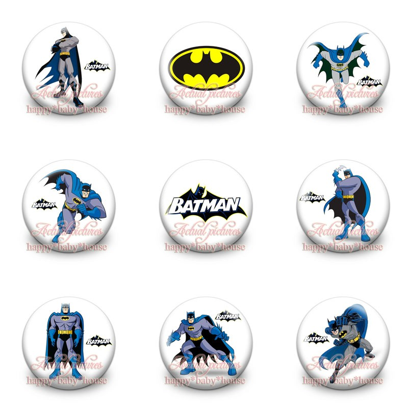 High Quality 90Pcs 9Style Batman Cartoon Logo Buttons Pins Badges Round Badges,30MM Diameter,Accessories For Clothing/Bags,Gifts