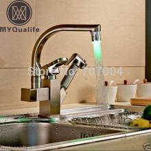 Deck Montiert Nickel Gebürstet Doppel Auslauf Küchenarmatur LED Herausziehen Kitchen Sink Mischbatterien