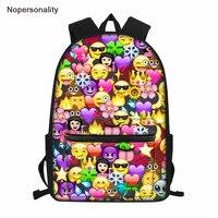 Nopersonality Funny Emoji Backpack 3D Cute Smile Print Backpack for Teenage Girls Unique School Bags Outside Bagpack Mochilas