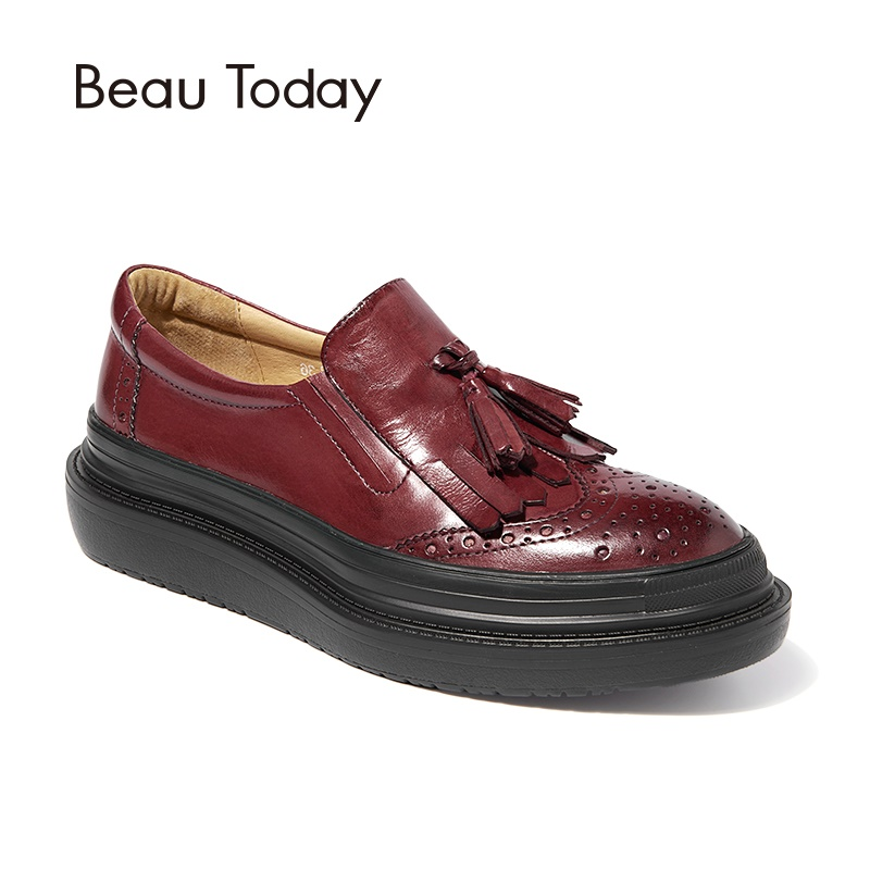 BeauToday Women Flat Platform Shoes Fringe Tassel Top Quality Genuine Cow Leather Round Toe Lady Brogue Shoes Handmade 27082 top quality england style retro mens cow genuine leather brogue shoes male casual shoes lace up round toe breathable wing tip
