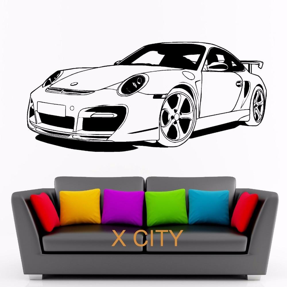 Для Porsche 911 спортивный автомобиль клуб виниловые наклейки на стены Книги по искусству Декор Стикеры Гостиная двери трафарет росписи ...