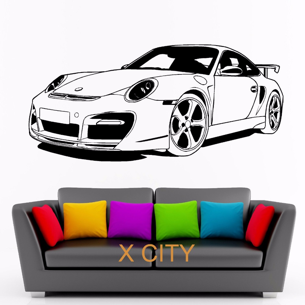 FOR PORSCHE 911 SPORTS CAR club Vinyl Wall Decal Art Decor Sticker Living Room Door Stencil Mural ...