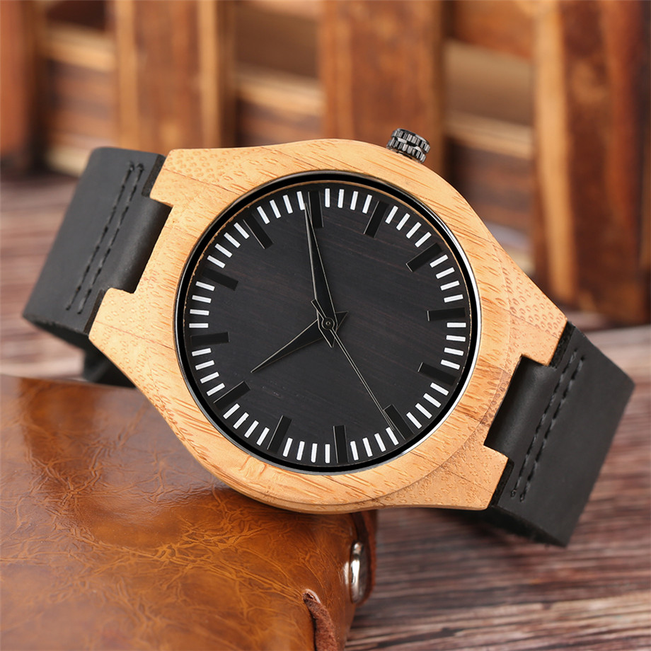 Black dial genuine leather band wood watch men09