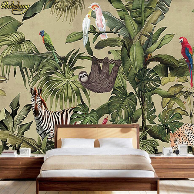 Beibehang Custom Photo Wallpaper Murals Vintage Rainforest Animals Palm Leaves Living Room Tv Background Wall Papel