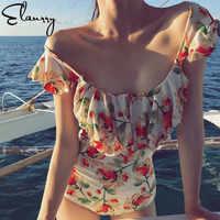 2018 frauen Floral Print Bademode Push Up Bandage Weg Von Schulter Badeanzug Sexy Back Vinatge Monokini Mädchen Hohe Taille Strand Tragen