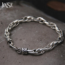 JINSE 100% Real Pure 925 Sterling Silver Bracelets for Women Men Fine Jewelry Vintage S925 Solid Thai Silver Chain Bracelet недорого
