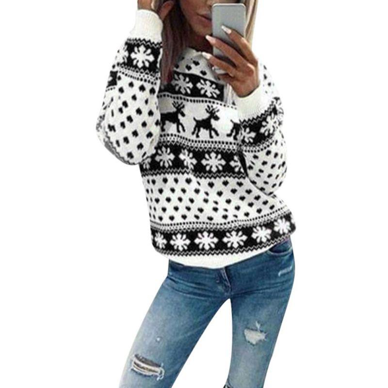 2018 otoño suéter de la Navidad para las mujeres invierno nieve ...