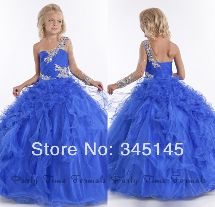 Fast Delivery Ball Gown Pageant   Dresses   For   Girls   Sweep Train One Long Sleeve   Flower     Girls     Dresses   Beaded Discount