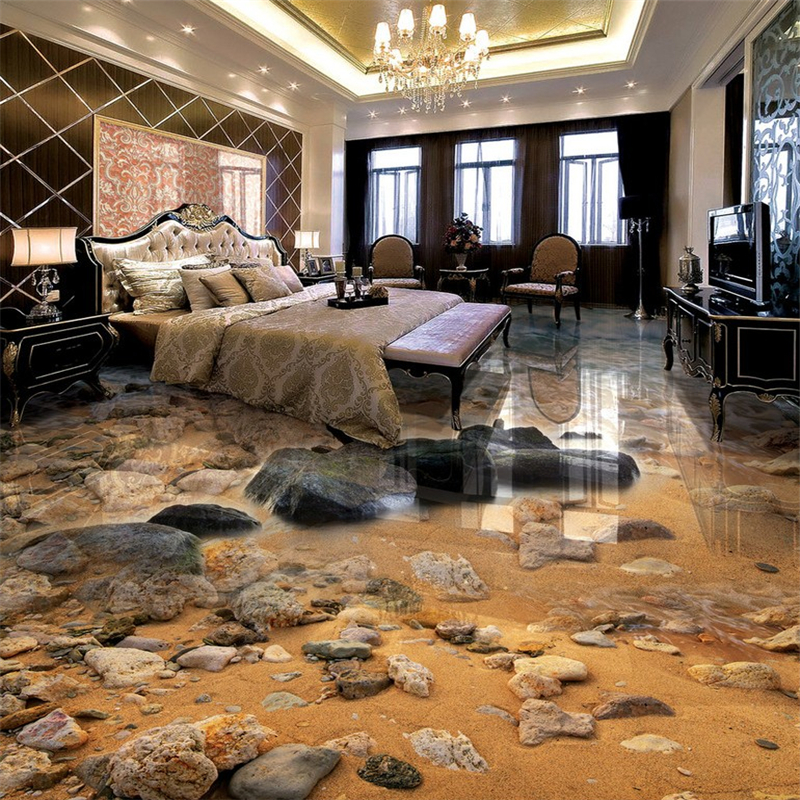 beibehang Wallpaper Mural Wall Stickers Seaside Sandstone River Living Room Bathroom 3D Floor Painting papel de parede beibehang dolphin ocean custom 3d wallpaper for bathroom mural 3d flooring wallpaper self adhesive floor painting wall stickers