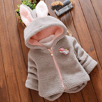 Baby Girls Winter Coat Cute Rabbit Ear Hooded Jacket Kids Thicken Sheep Velvet Warm Cotton Outerwear