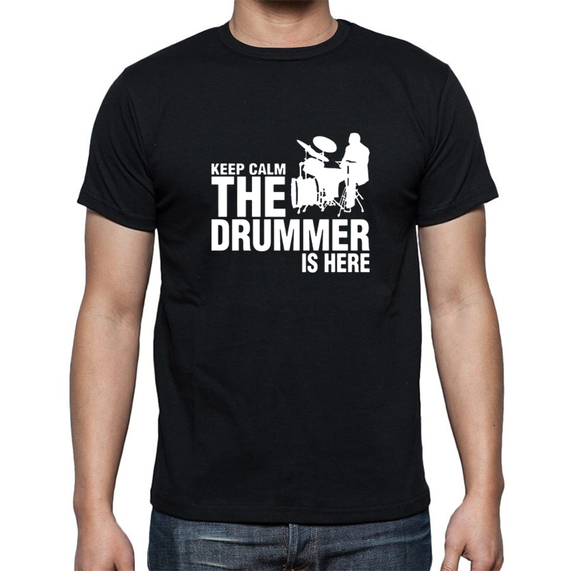 Summer New A Drummer And Drums Cotton Man T-shirts Tops Tees Short Sleeve Casual Keep Calm The Drummer Is Here T Shirts T Shirts