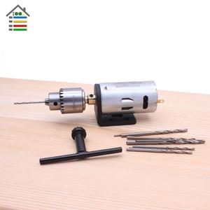 Image 5 - DIY Mini Hand Drill Kit Electric Motor Drill Press JT0 Keyless Chuck 10pc Twist Bits Adjustable Speed Power Adapter Woodworking