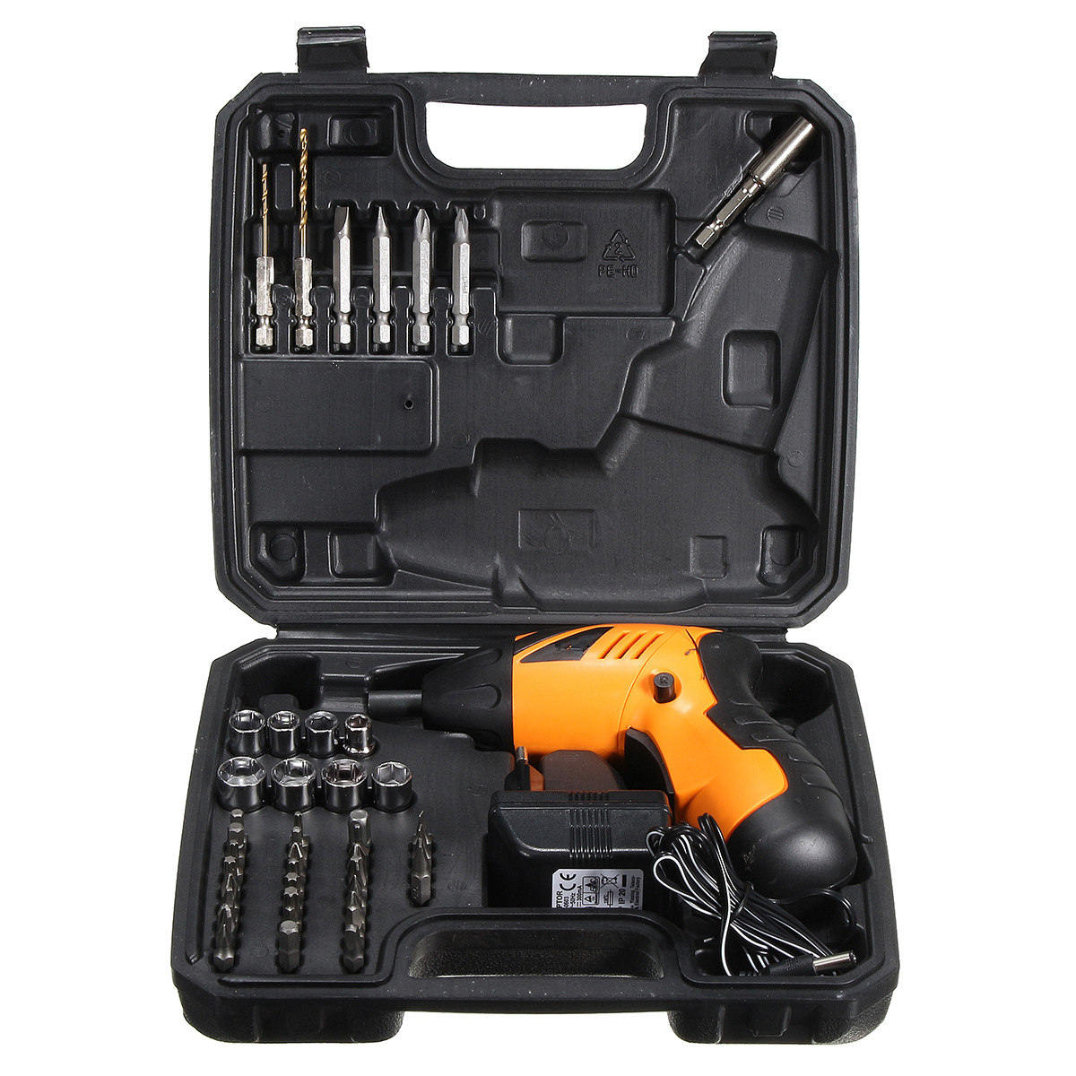 45 in 1 Electric Cordless Screwdriver Drill Power Tool Rechargeable Fold Driver With Plastic Box Package Drill Set 4 8vlithium battery 2 torque electric drill bit cordless electric screwdriver hand wrench with plastic case carry tool box set