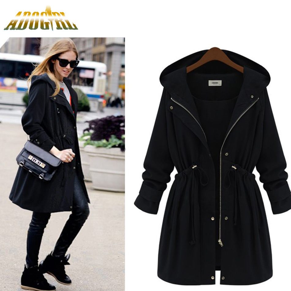 Autumn Winter   Jacket   Women Outerwear Long Coats With Cap European Style Women Solid Army 2018   Basic   Coats Casual Fashion   Jacket