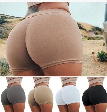 2017 New Women Shorts Active Shorts Workout Waist Band Solid Fold Over Shorts Slim Sknniy Woman Clothing