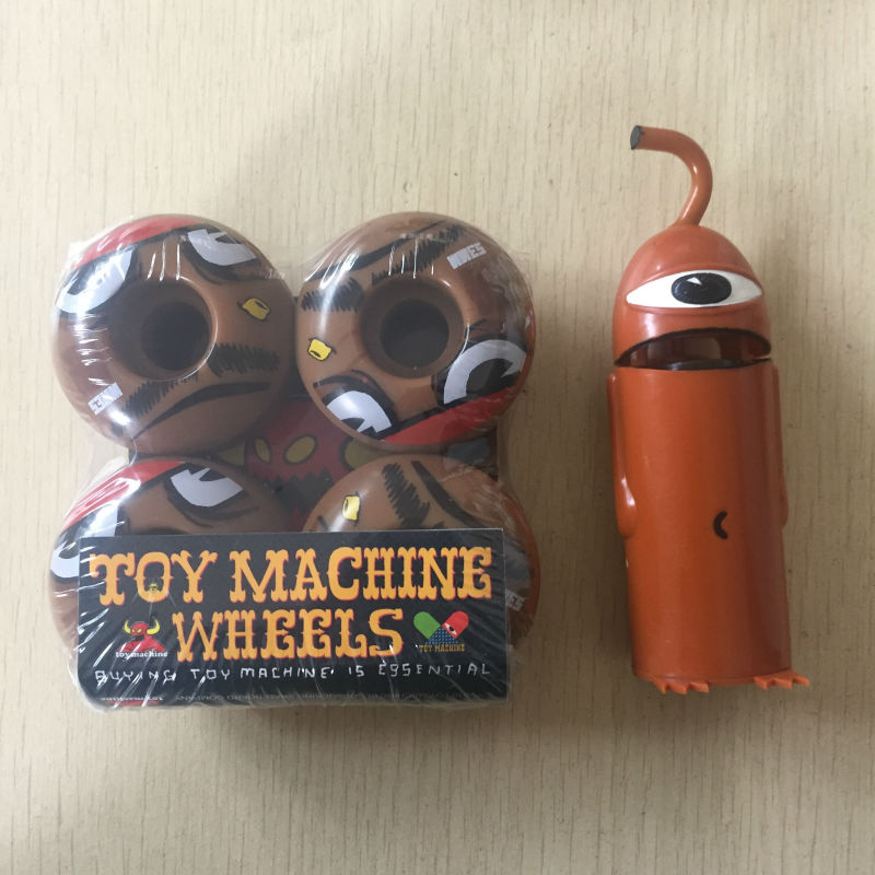 Free Shipping TOY MACHINE ABEC-5 Skate Board Bearings And TOY MACHINE 52mm/53mm  Wheels For Double Rocker