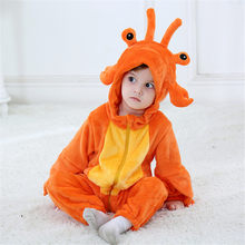 Cute lobster Kigurumi Baby Child Onesie Pajama Kawaii Animal Cosplay Costume Infant Winter Warm Soft Suit Halloween Party Fancy(China)