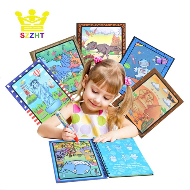 drawing album toys cartoon doodle refill coloring book paint learning water painting notebook recycled refillable pen - Paint With Water Coloring Books