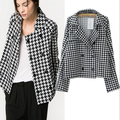 Jaqueta New 2017 Spring Women Jackets European Style Plaid Double-Breasted Suit Jacket Loose Coat Female Large Size JY-140