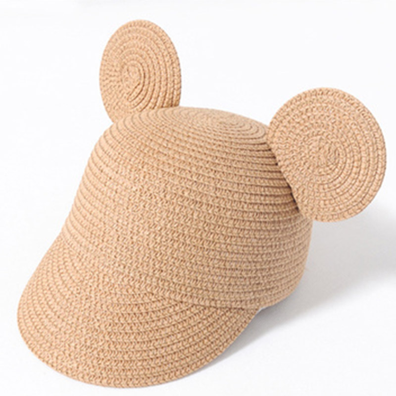 MAERSHEI Cute Child Girls Straw Hat Bowknot Sun Hat Kids Large Brim Beach Summer Boater Beach Ribbon Round Flat Top Fedora Hat