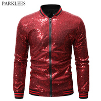 Red Sequin Bomber Jacket Men 2019 Spring New Sequins Baseball Jacket Nighclub Disco DJ Stage Singer Costume Chaqueta Hombre XXL