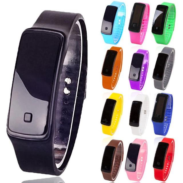 Fashion Digital LED Display Sports Jelly Silicone Band Men Women Wrist Watch Who