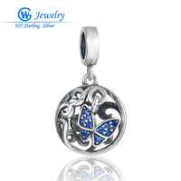 Blue Crystal Jewelry Sterling Silver Floating Butterfly Pendant Fit Silver Necklace Gw Fine Jewelry S403