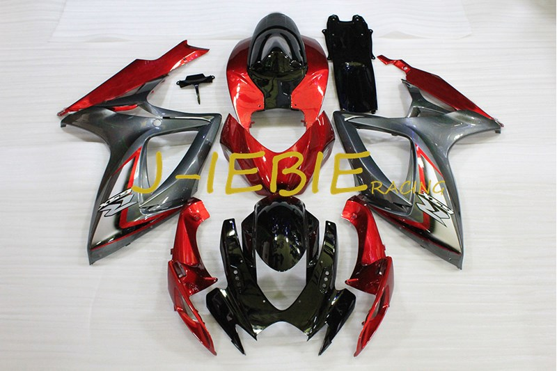 Black red Injection Fairing Body Work Frame Kit for SUZUKI GSXR 600/750 GSXR600 GSXR750 2006 2007