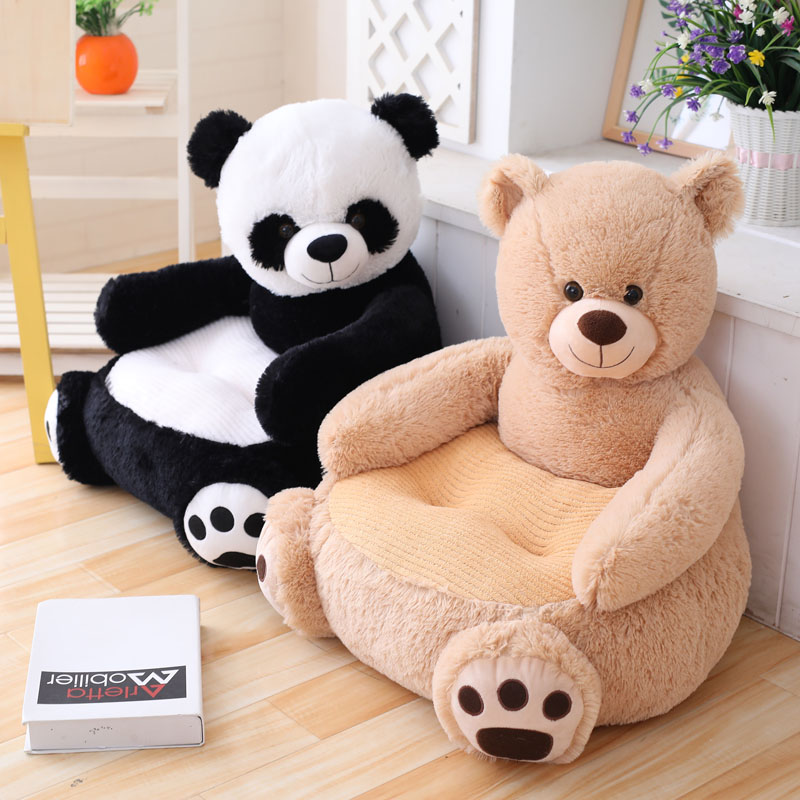 Simulation Panda Teddy Bear Baby Chair Plush Cartoon Animal Protective Arms Sofa Infant Stuffed Children Sofa Kids Birthday