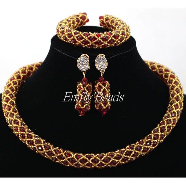 Grânulos De Cristal nigerianos Casamento Beads Africanos Jóias Set Vinho Tinto da Borgonha Mulheres Traje Colar Set Ouro Missangas Banhado ALJ384