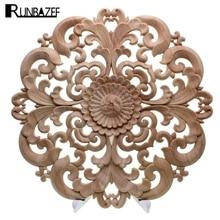 RUNBAZEF Woodcarving Furniture Decoration Solid Wood Door Round Applique Flower Him Miniature Crafts Figurine Storm