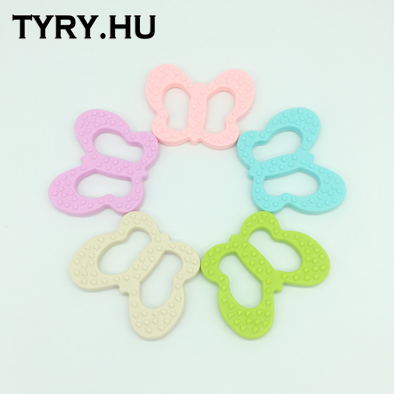 Silicone Butterfly Teether Chewable Silicone Beads Pendant BPA Free - Fashion Jewelry - Photo 4