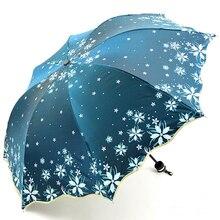 2019 New Arrival Beautiful Flowers Umbrella Fashion Glitter Color Changing Women Umbrellas Blossom Girl Sun Parasol Gift SP048