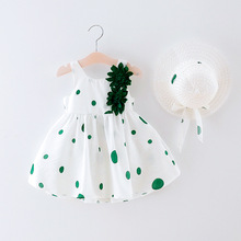 Summer New Casual Baby Dress+hat Cotton Print Flower Dot Sleeveless Infant Girl Dresses Toddler Babies Girls Appliques Clothes