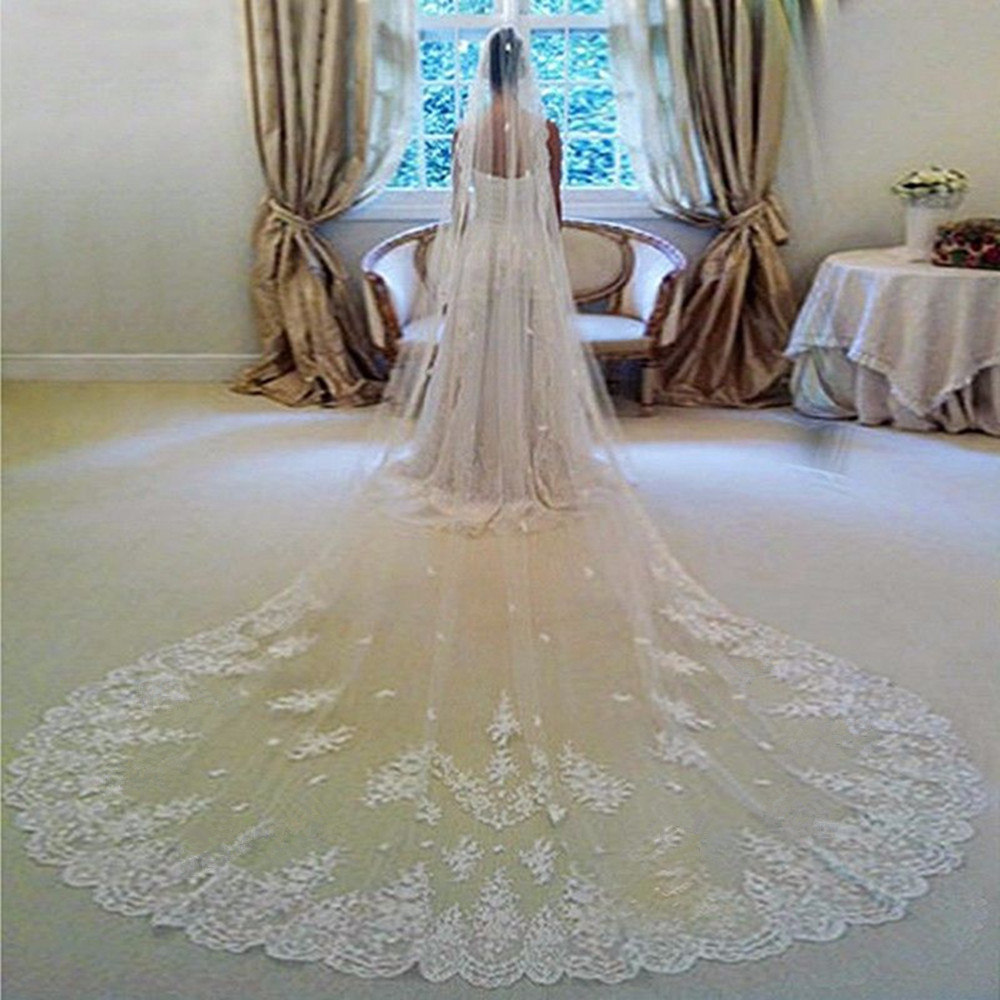 White / Ivory Real Photos High Quality 3 Meters Cathedral Long Wedding Veil Bridal Veils Lace Edge With Comb Wedding Accessories