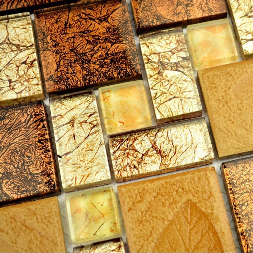 Brown Color Electroplating Glass With Leaf Drawing Square