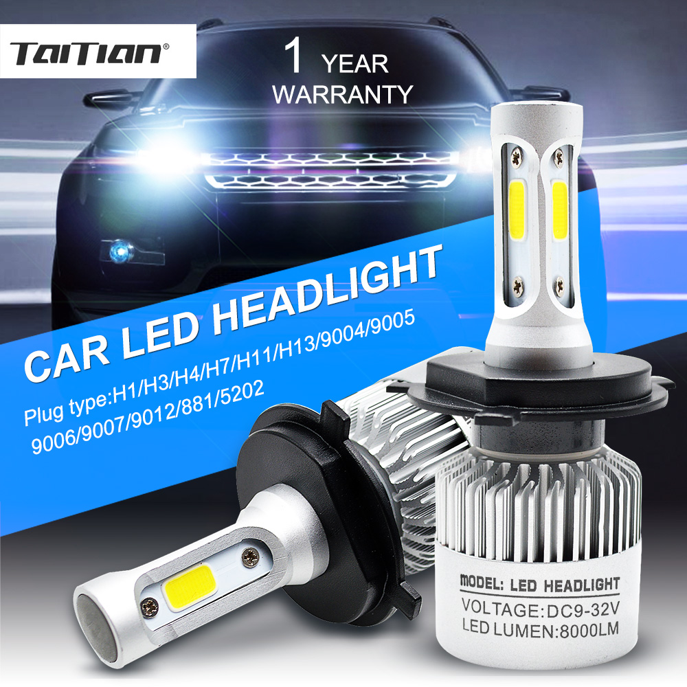 Taitian 2Pcs COB 72W 8000LM 6500K 12V H7 Turbo Led Headlight H11 Canbus Led H4 Auto H1 H3 H13 H27 880 9005 9006 9007 9012 5202