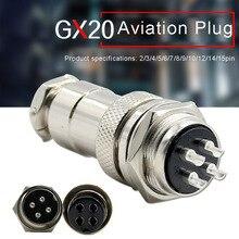 Aviation Connector Plug Socket GX20 2pin 3pin 4pin 5pin 6pin 7 8 9 10 12 14 15pin 20M Metal Round Connectors for Industrial Equi