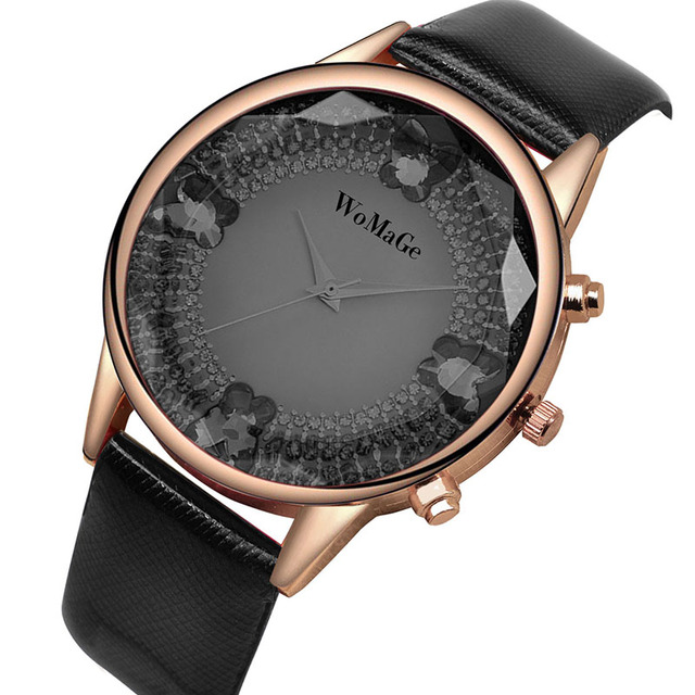 f8e32ac17 WoMaGe Wrist watches Luxury Diamond Watch Women Watches Leather Strap Ladies  Rose Gold Watch Clock relogio feminino reloj mujer